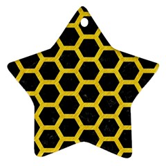 Hexagon2 Black Marble & Yellow Colored Pencil (r) Ornament (star)