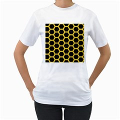 Hexagon2 Black Marble & Yellow Colored Pencil (r) Women s T Shirt (white) (two Sided)