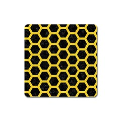 Hexagon2 Black Marble & Yellow Colored Pencil (r) Square Magnet