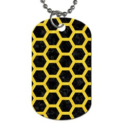 Hexagon2 Black Marble & Yellow Colored Pencil (r) Dog Tag (two Sides)