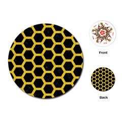 Hexagon2 Black Marble & Yellow Colored Pencil (r) Playing Cards (round)