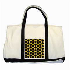 Hexagon2 Black Marble & Yellow Colored Pencil (r) Two Tone Tote Bag