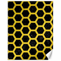 Hexagon2 Black Marble & Yellow Colored Pencil (r) Canvas 12  X 16