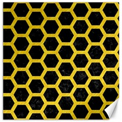 Hexagon2 Black Marble & Yellow Colored Pencil (r) Canvas 16  X 16