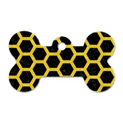 Hexagon2 Black Marble & Yellow Colored Pencil (r) Dog Tag Bone (two Sides)