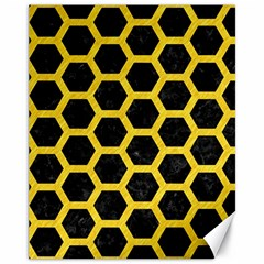 Hexagon2 Black Marble & Yellow Colored Pencil (r) Canvas 11  X 14