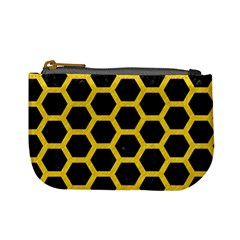 Hexagon2 Black Marble & Yellow Colored Pencil (r) Mini Coin Purses