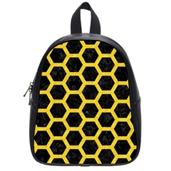 Hexagon2 Black Marble & Yellow Colored Pencil (r) School Bag (small)