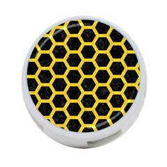Hexagon2 Black Marble & Yellow Colored Pencil (r) 4 Port Usb Hub (one Side)
