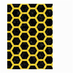 Hexagon2 Black Marble & Yellow Colored Pencil (r) Small Garden Flag (two Sides)