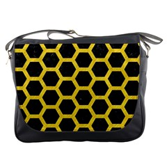 Hexagon2 Black Marble & Yellow Colored Pencil (r) Messenger Bags