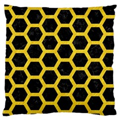 Hexagon2 Black Marble & Yellow Colored Pencil (r) Large Cushion Case (one Side)