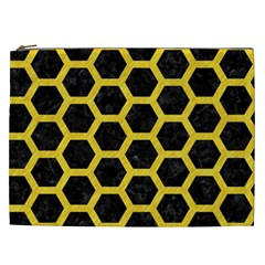Hexagon2 Black Marble & Yellow Colored Pencil (r) Cosmetic Bag (xxl)