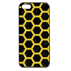 Hexagon2 Black Marble & Yellow Colored Pencil (r) Apple Iphone 5 Seamless Case (black)