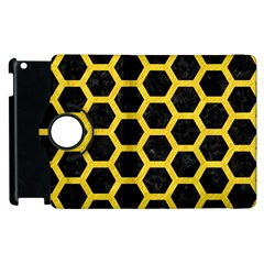 Hexagon2 Black Marble & Yellow Colored Pencil (r) Apple Ipad 3/4 Flip 360 Case