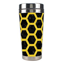 Hexagon2 Black Marble & Yellow Colored Pencil (r) Stainless Steel Travel Tumblers