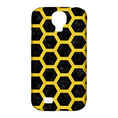 Hexagon2 Black Marble & Yellow Colored Pencil (r) Samsung Galaxy S4 Classic Hardshell Case (pc+silicone)