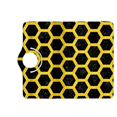 Hexagon2 Black Marble & Yellow Colored Pencil (r) Kindle Fire Hdx 8 9  Flip 360 Case