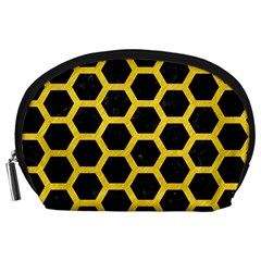 Hexagon2 Black Marble & Yellow Colored Pencil (r) Accessory Pouches (large)
