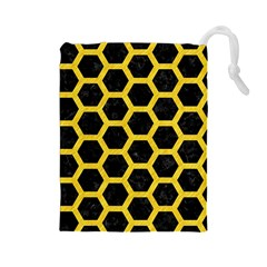 Hexagon2 Black Marble & Yellow Colored Pencil (r) Drawstring Pouches (large)