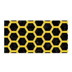 Hexagon2 Black Marble & Yellow Colored Pencil (r) Satin Wrap