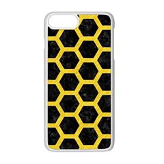 Hexagon2 Black Marble & Yellow Colored Pencil (r) Apple Iphone 8 Plus Seamless Case (white)