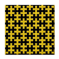Puzzle1 Black Marble & Yellow Colored Pencil Tile Coasters