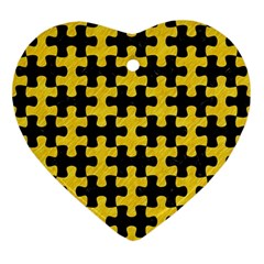Puzzle1 Black Marble & Yellow Colored Pencil Ornament (heart)