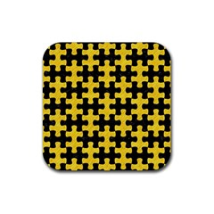 Puzzle1 Black Marble & Yellow Colored Pencil Rubber Square Coaster (4 Pack)