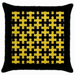 Puzzle1 Black Marble & Yellow Colored Pencil Throw Pillow Case (black)