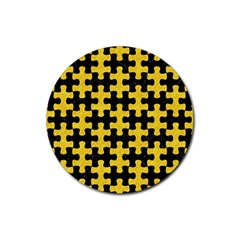 Puzzle1 Black Marble & Yellow Colored Pencil Rubber Coaster (round)