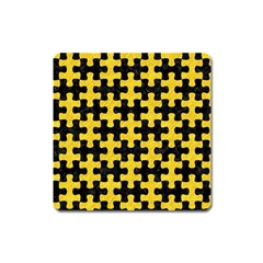 Puzzle1 Black Marble & Yellow Colored Pencil Square Magnet