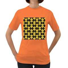 Puzzle1 Black Marble & Yellow Colored Pencil Women s Dark T Shirt
