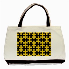 Puzzle1 Black Marble & Yellow Colored Pencil Basic Tote Bag
