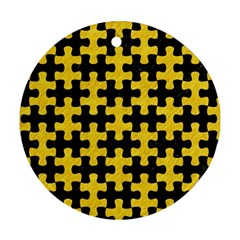 Puzzle1 Black Marble & Yellow Colored Pencil Round Ornament (two Sides)