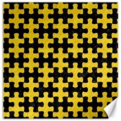Puzzle1 Black Marble & Yellow Colored Pencil Canvas 16  X 16