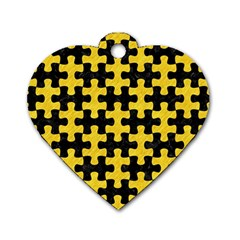 Puzzle1 Black Marble & Yellow Colored Pencil Dog Tag Heart (one Side)