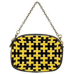 Puzzle1 Black Marble & Yellow Colored Pencil Chain Purses (one Side)