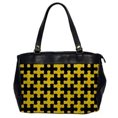 Puzzle1 Black Marble & Yellow Colored Pencil Office Handbags