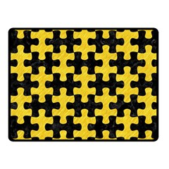 Puzzle1 Black Marble & Yellow Colored Pencil Fleece Blanket (small)
