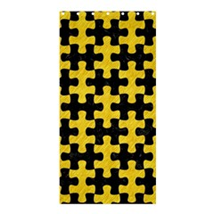 Puzzle1 Black Marble & Yellow Colored Pencil Shower Curtain 36  X 72  (stall)