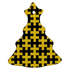 Puzzle1 Black Marble & Yellow Colored Pencil Ornament (christmas Tree)