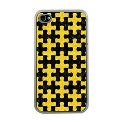 Puzzle1 Black Marble & Yellow Colored Pencil Apple Iphone 4 Case (clear)
