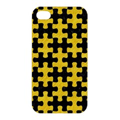 Puzzle1 Black Marble & Yellow Colored Pencil Apple Iphone 4/4s Premium Hardshell Case