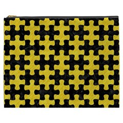 Puzzle1 Black Marble & Yellow Colored Pencil Cosmetic Bag (xxxl)