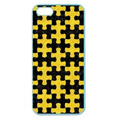 Puzzle1 Black Marble & Yellow Colored Pencil Apple Seamless Iphone 5 Case (color)