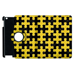 Puzzle1 Black Marble & Yellow Colored Pencil Apple Ipad 3/4 Flip 360 Case