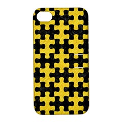 Puzzle1 Black Marble & Yellow Colored Pencil Apple Iphone 4/4s Hardshell Case With Stand