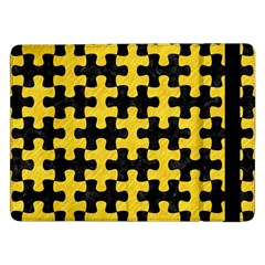 Puzzle1 Black Marble & Yellow Colored Pencil Samsung Galaxy Tab Pro 12 2  Flip Case