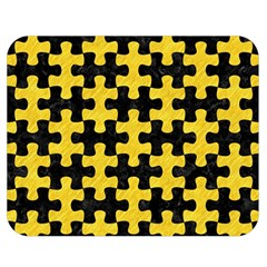 Puzzle1 Black Marble & Yellow Colored Pencil Double Sided Flano Blanket (medium)